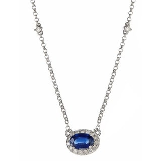 Anika and August 14k White Gold Blue Sapphire and 1/6ct TDW Diamond Oval Necklace (G-H, I1-I2)