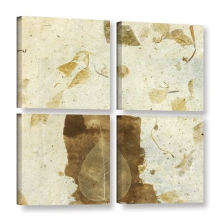 ArtWall Elena Ray 'Wabi-Sabi Bodhi Leaf Collage 1' 4 Piece Gallery-wrapped Canvas Square Set