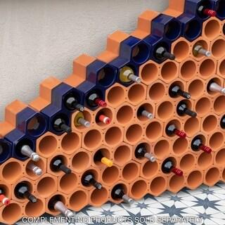 SomerTile 9.25x5-inch Botellera Blue Glazed Terra Cotta Wine Rack