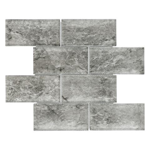 SomerTile 11.625x11.875-inch Iglu Convex Subway Smoke Glass Mosaic Wall Tile (5 tiles/4.8 sqft.)