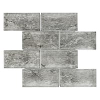 SomerTile 11.625x11.875-inch Iglu Convex Subway Smoke Glass Mosaic Wall Tile (5 tiles/4.8 sqft.)