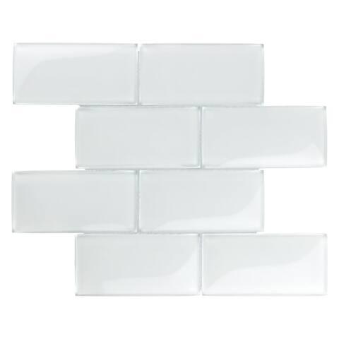 SomerTile 11.625x11.875-inch Iglu Convex Subway Ice White Glass Mosaic Wall Tile (5 tiles/4.8 sqft.)