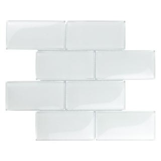 SomerTile 11.625x11.875-inch Iglu Convex Subway Ice White Glass Mosaic Wall Tile (5 tiles/4.8 sqft.)