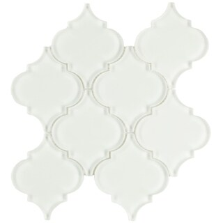 SomerTile 8x8.625-inch Morocco Ice White Glass Mosaic Wall Tile (10 tiles/4.8 sqft.)