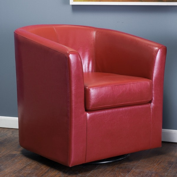Christopher Knight Home Daymian Faux Leather Swivel Club Chair   Free  Shipping Today   Overstock.com   18096369