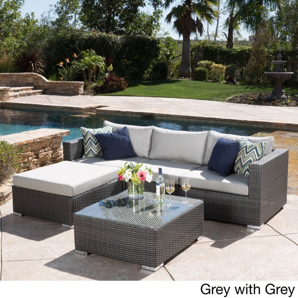 Amazing Santa Rosa Outdoor 5 Piece Wicker Seating Sectional Set With Cushions By  Christopher Knight Home   Free Shipping Today   Overstock.com   18096367 Part 13