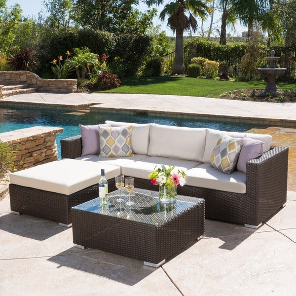 Santa Rosa Outdoor 5 piece Wicker Seating Sectional Set