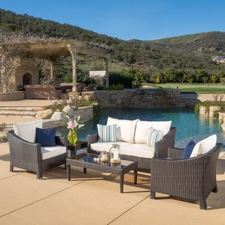 Outdoor Antibes 5-piece Wicker Chat Set with Cushions by Christopher Knight Home