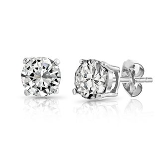 Pori 10k White Gold Cubic Zirconia Stud Earrings (3 - 8 mm)