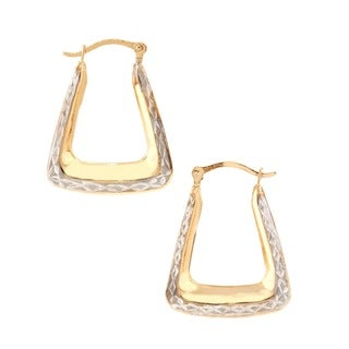 Pori 10k Two-tone Gold Square Hoop Earrings