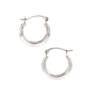 Pori 10k White Gold Hoop Earrings