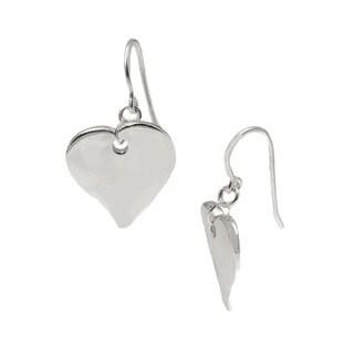 Pori Sterling Silver Heart Hook Dangle Earrings
