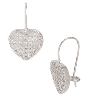 Pori Sterling Silver Cubic Zirconia Heart Hook Earrings