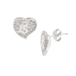Pori Sterling Silver Cubic Zirconia Heart Earrings