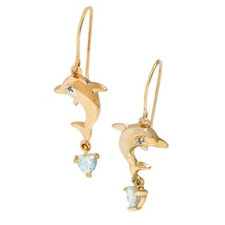 Pori 18k Goldplated Silver Dolphin and Heart Dangling Hook Earrings