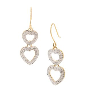 Pori 18k Goldplated Silver Diamond Accent Double Dangling Hook Earrings