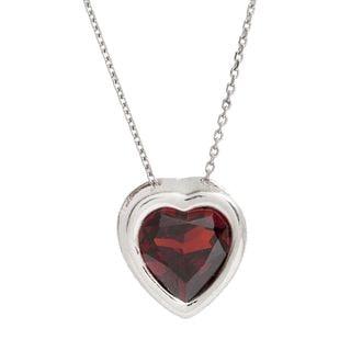 Pori Sterling Silver Cubic Zirconia Garnet Heart Necklace