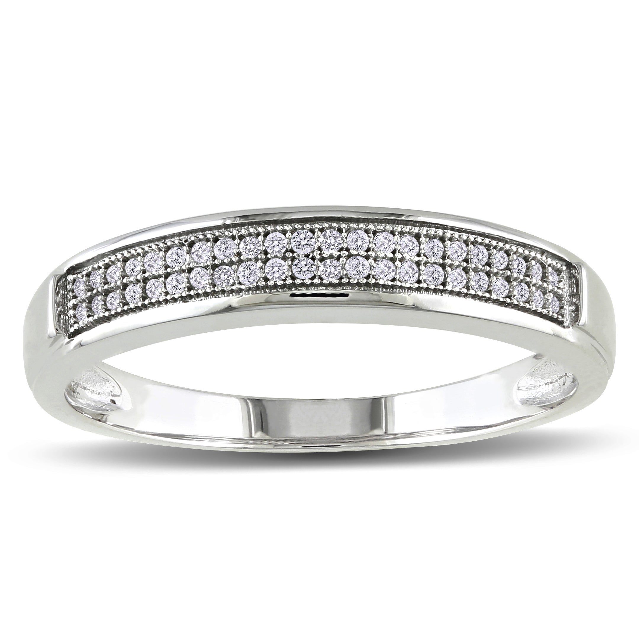 1//10 cttw, Size-7.5 Diamond Wedding Band in Sterling Silver G-H,I2-I3