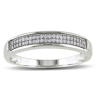Miadora 10k White Gold Men's 1/8ct TDW Diamond Stackable Wedding Band Ring (G-H, I2-I3)
