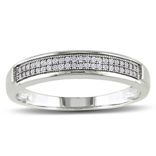 Miadora 10k White Gold Men's 1/8ct TDW Diamond Stackable Wedding Band Ring (G-H, I2-I3)