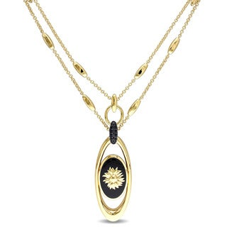 V1969 Italia Black Agate and Black Sapphire Sunflower Necklace in Yellow Gold Plated Sterling Si