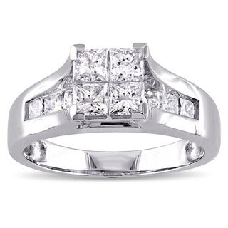 Miadora Signature Collection 14k White Gold 1 1/3ct TDW Princess-cut Diamond Quad Engagement Ring (G-H, I2-I3)