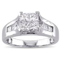 Miadora Signature Collection 14k White Gold 1 1/3ct TDW Princess-cut Diamond Quad Engagement Ring (G