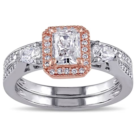 Miadora Signature Collection 14k Two-tone Gold 1 1/3ct TDW Radiant-cut Diamond Halo Bridal Ring Set (G-H, I1-I2)