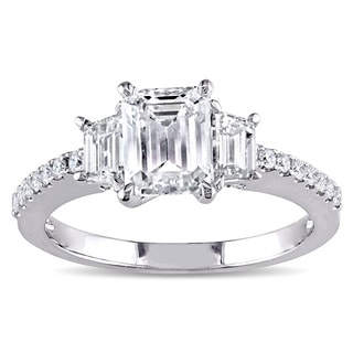 Miadora Signature Collection 14k White Gold 2ct TDW Certified Emerald-cut Diamond 3-stone Engagement Ring (F, VS1, GIA)