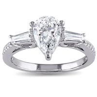 Miadora Signature Collection 14k White Gold 1 3/5ct TDW Pear-cut Diamond 3-stone Engagement Ring