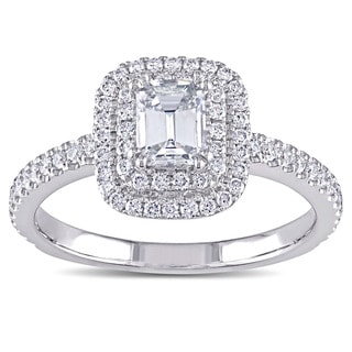 Miadora Signature Collection 14k White Gold 1ct TDW Emerald-cut Diamond Double Halo Engagement Ring (G-H, VS1-VS2)