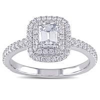 Miadora Signature Collection 14k White Gold 1ct TDW Emerald-cut Diamond Double Halo Engagement Ring (G-H, VS1-VS2)