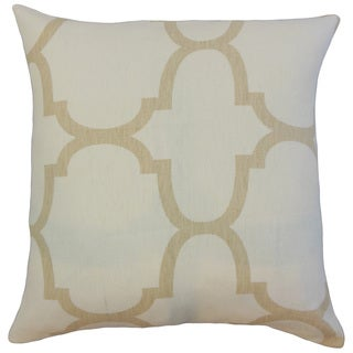 Cascade White Geometric Linen Down and Feather 18-inch Throw Pillow