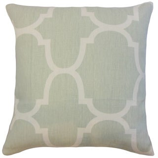 Cascade Mint Geometric Linen Down and Feather 18-inch Throw Pillow