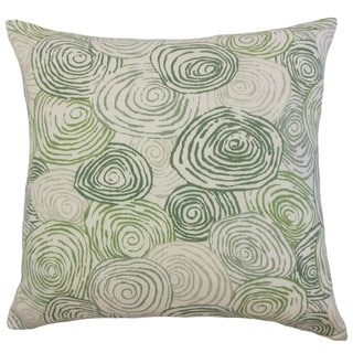 Blakesley Green Swirl Linen Down and Feather 18-inch Throw Pillow