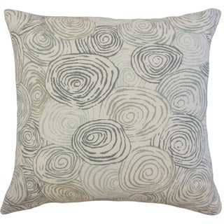 Blakesley Grey Graphic Linen Down and Feather 18-inch Throw Pillow