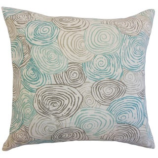 Blakesley Blue/ Grey Swirl Linen Down and Feather 18-inch Throw Pillow