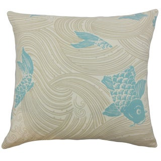 Ailies Blue Fish Down and Feather Filled 18-inch Throw Pillow