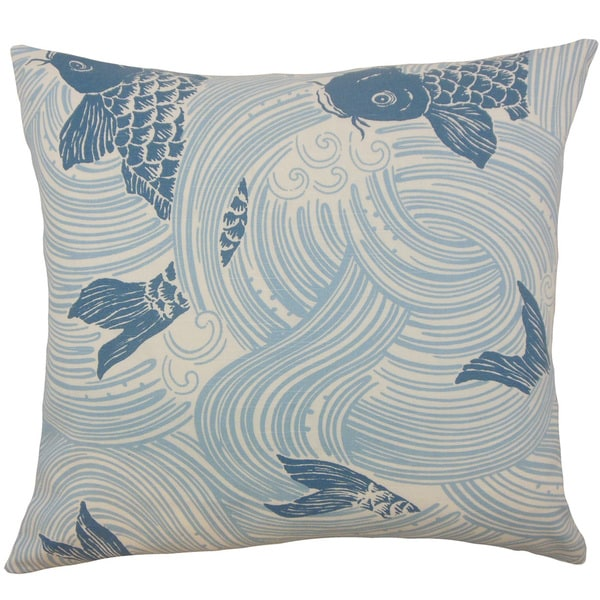 Ailies Multi Blue Fish Down and Feather Filled 18-inch Throw Pillow