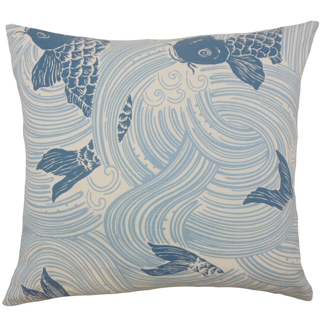 Ailies Multi Blue Fish Down and Feather Filled 18-inch Throw Pillow (Size)