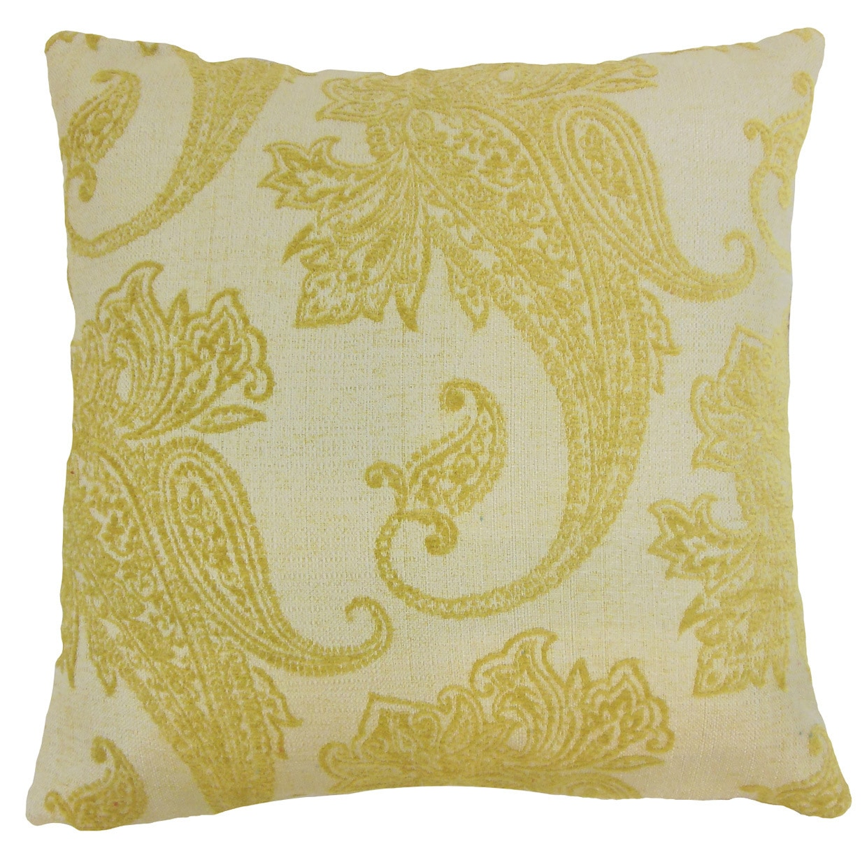 Galia Yellow Paisley Down and Feather Filled 18-inch Throw Pillow (Size)