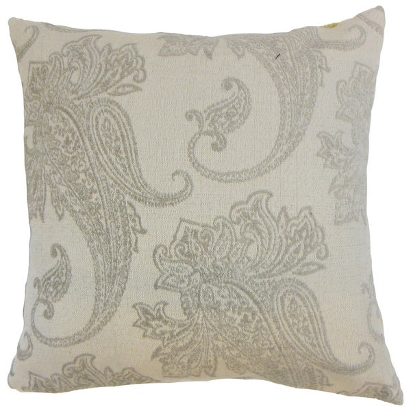 Galia Paisley Down and Feather Filled 18-inch Throw Pillow