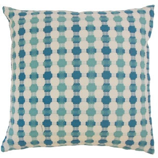 Erela Blue Geometric Down and Feather Filled 18-inch Throw Pillow