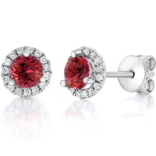 14k White Gold 3/4 CTW Diamond & Ruby Halo Studs Earrings (F-G,VS1-VS2)