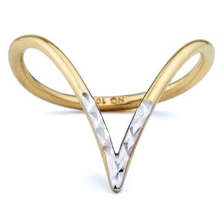 10k Two-Tone Gold Single Chevron Fashion Ring Size 7