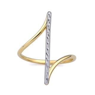 10k Two-Tone Gold Diamond Cut Fashion Ring Size 7