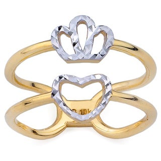 10k Two-Tone Gold Queen of Hearts Fashion Ring Size 7