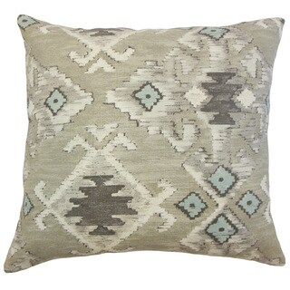 Nouevel Blue Ikat Down and Feather Filled 18-inch Throw Pillow