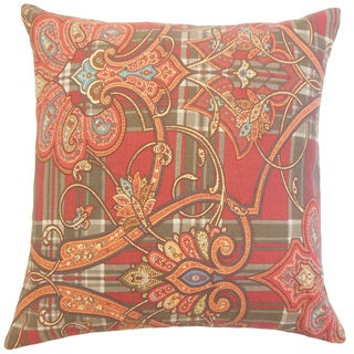 Magee Orange Damask Down and Feather Filled 18-inch Throw Pillow