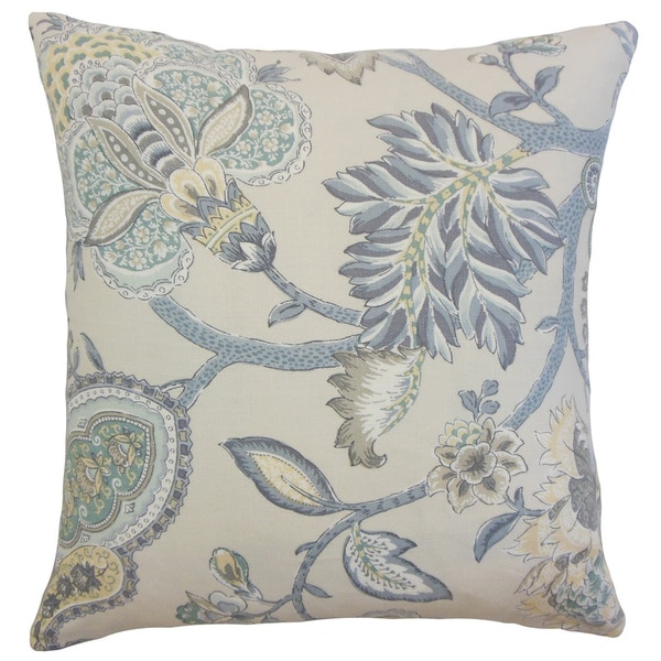 Liora Floral Linen Down and Feather 18-inch Throw Pillow